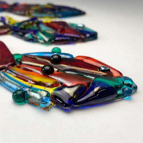 Stevie Davies Glass kits rainbow multicoloured fish detail